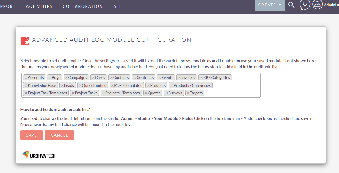 Configuration for enable module to Audit