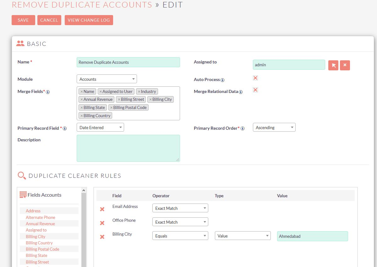 Duplicate Cleaner select module and fields on which duplication check will be perform.