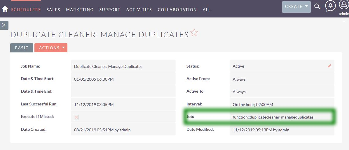 Duplicate Cleaner Scheduler record into CRM.