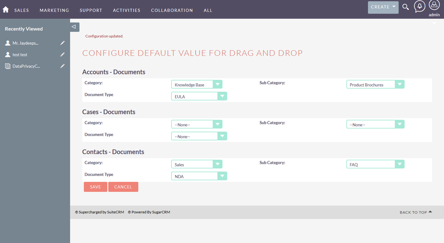 SuiteCRM for Drag and Drop multiple document default value