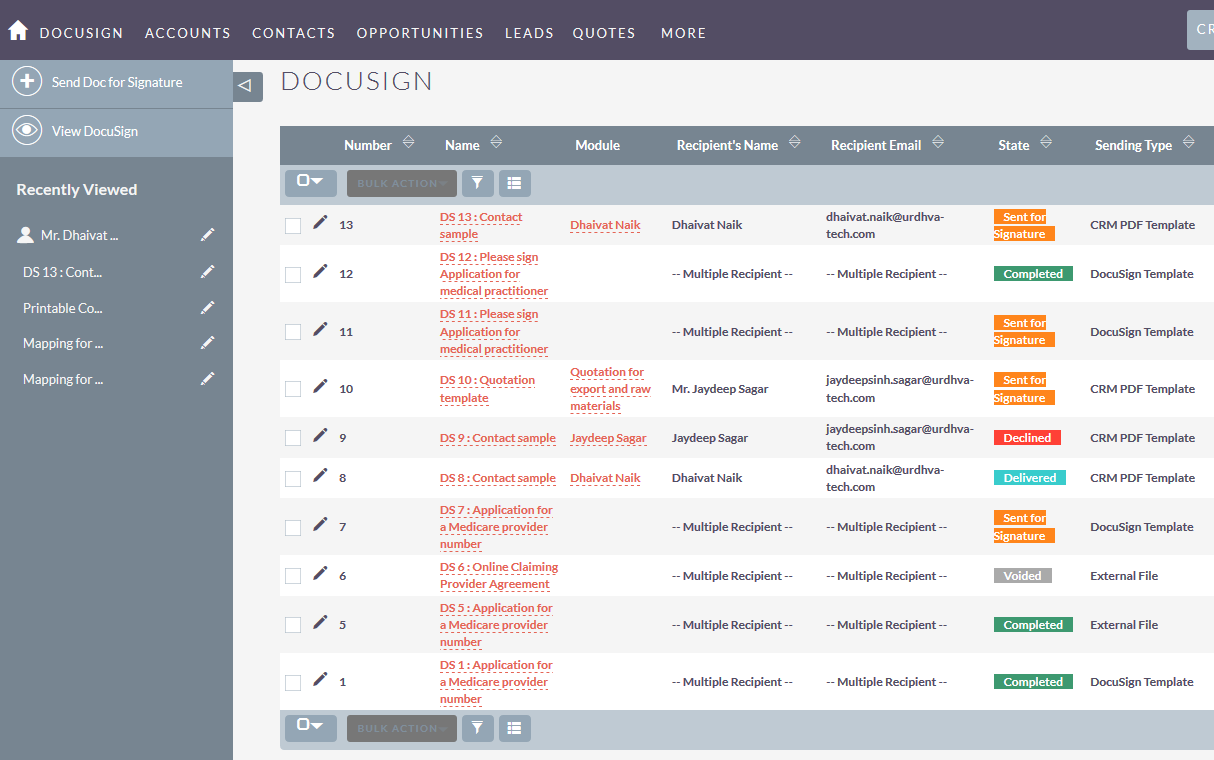 DocuSign SuiteCRM listview