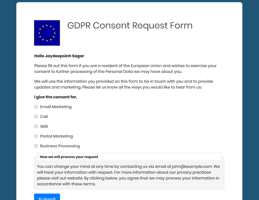 SuiteCRM GDPR-Ready Data Subject request forms