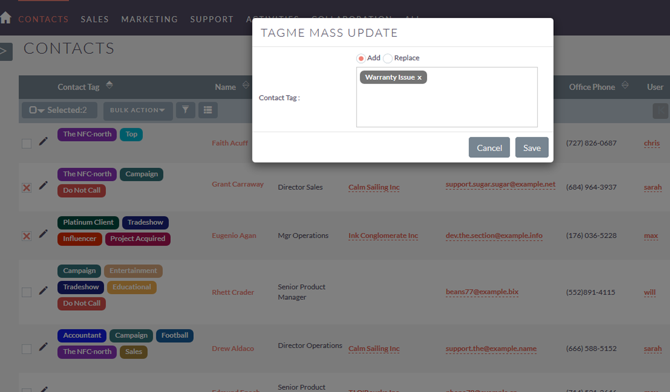 Mass update tags in suiteCRM